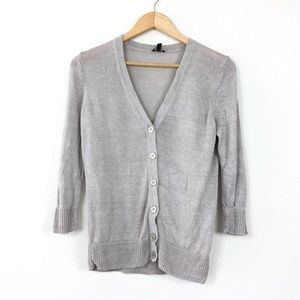 Talbots 100% Linen Knit Button Front Cardigan Top
